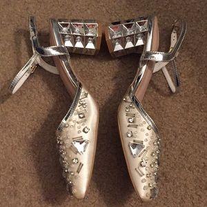 Silver rhinestone block heels NEW